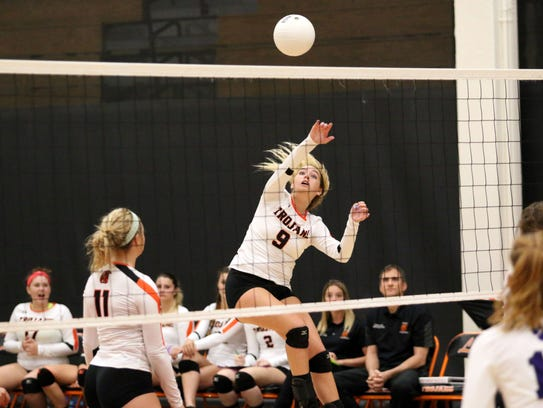 Lely freshman Colleen Ziegelmaier hits the ball during