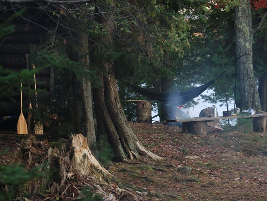 A rustic camp site on the big island of Raquette Lake