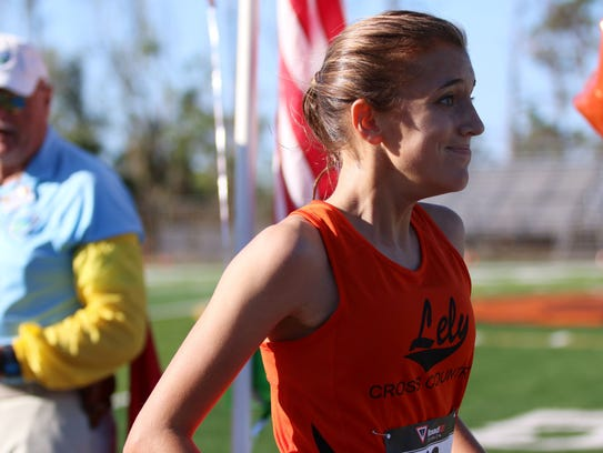 Lely's Ryenn Hart reacts after crossing the finishline