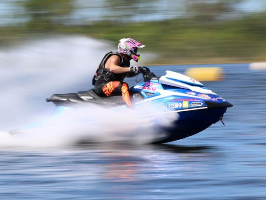 Competitors race during the Watercross World Championship
