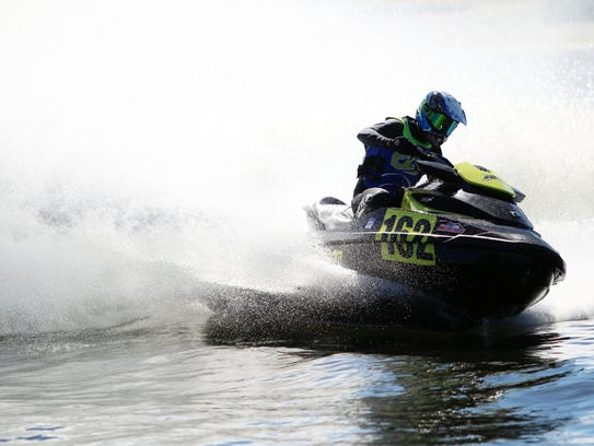 Competitors race during the Pro Watercross World Championship