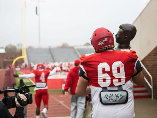 Austin Peay offensive lineman Max Ewoldt carries the
