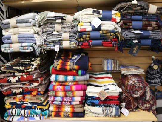 Pendleton blankets at the Made In Oregon store in the