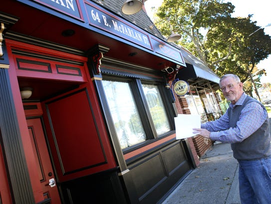 Owner Frank Burke outside his restaurant The Quiet
