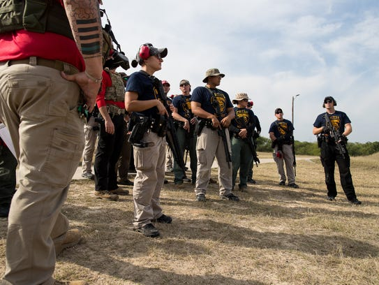 Corpus Christi Police Academy cadets wait to conduct a rifle training course on Friday, Dec. 22, 2017.