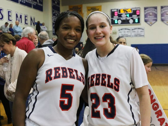 At the end of the game Sydney Watkins, left, and Michelle
