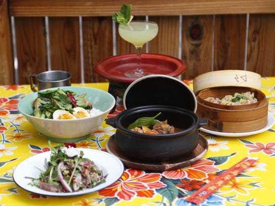 A collection of some of the food at Glai Baan, a Thai