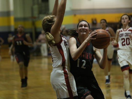 Rossview's Macy Rippy (12) absorbs contact from Henry