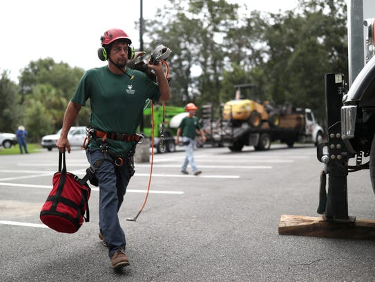 Tommy Jones, a climber with AAA Tree Experts, prepares