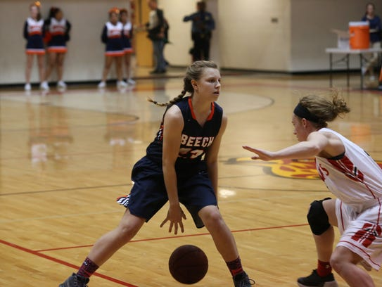 Beech's Mia Dean looks to get past Rossview's Madison