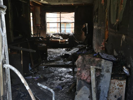 A completely burnt interior can be seen at the Rockbrook