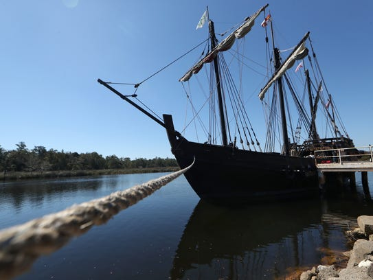 A replica of Columbus' The Pinta is anchored in St.