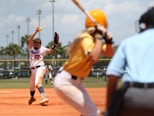 Estero's Alex Salter pitches during the championship