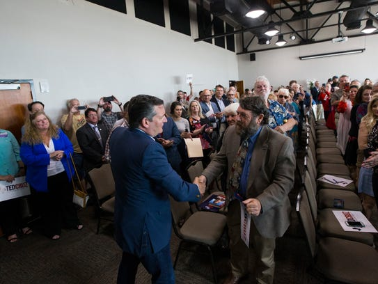 U.S. Sen. Ted Cruz speaks at a campaign event on Tuesday,