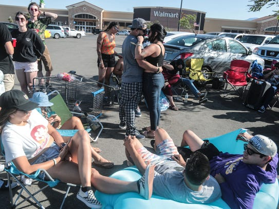 Coachella Music Festival campers hangout at the Walmart