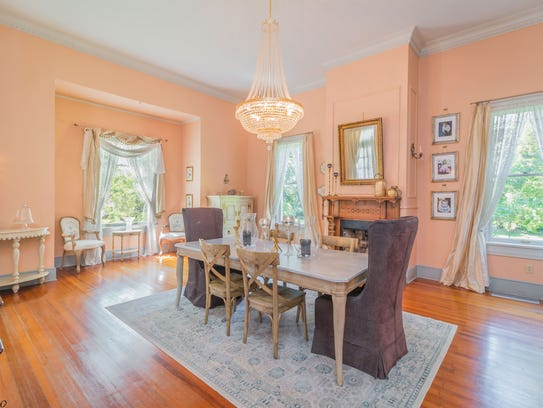 The dining area is formal yet charming.