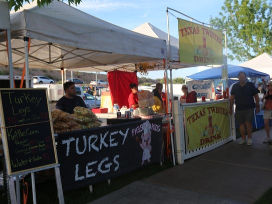The turkey leg and Texas Twister Drink vendors at the