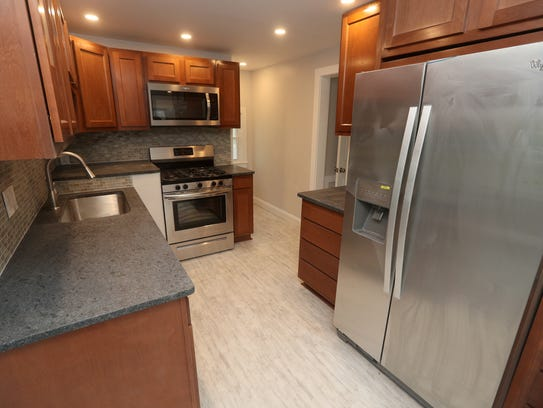 The kitchen of this refurbished house on Atlantic Avenue