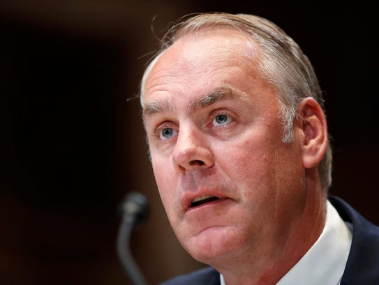 Interior Secretary Ryan Zinke testifies at a Senate
