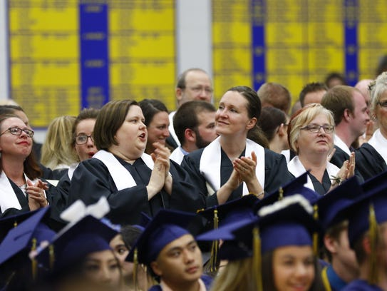 Wausau West High School celebrates its 2018 graduation ceremony Tuesday, May 29, 2018, at the high school fieldhouse in Wausau. T'xer Zhon Kha/USA TODAY NETWORK-Wisconsin