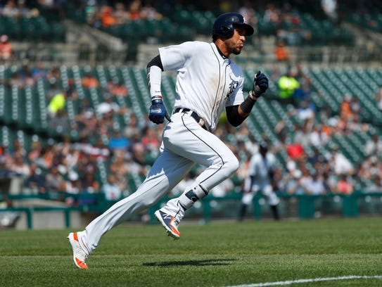 Tigers outfielder Victor Reyes rounds first base after