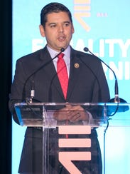 Rep. Raul Ruiz speaking at an Equality California event.