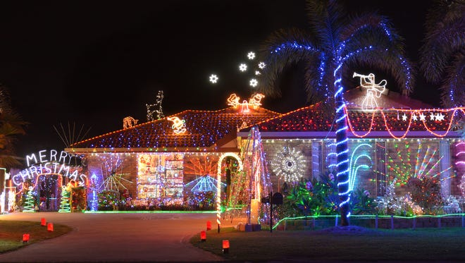 Evening shot of Christmas decorated house the Southern Hemisphere