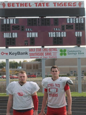 Scott Springer/Community Press Bethel-Tate junior linemen Kermit Beckworth, left, and Caleb Bastin are among the Tigers slated to return for new head coach Jeff Essig.
