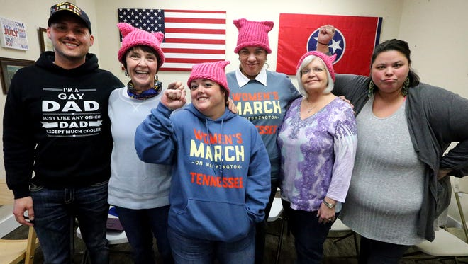 A group of local people that will be traveling to Washington, D.C., to participate in the Women's March on Washington the day after the Inauguration of Donald Trump. Murfreesboro residents boarding a bus for the march include, from left, Shane Morgan, Linda Sullivan, Bethany Stollar, Darlene Neal, Kay Janosik and Connie Smith.