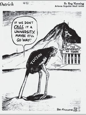 This editorial cartoon by Reg Manning was published on Sept. 28, 1958, regarding a proposition that asked voters whether Arizona State College should be renamed Arizona State University. The cartoon shows Tucson as an ostrich hoping that the school to the north would vanish.