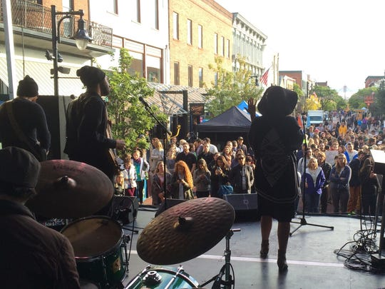 Kat Wright and the Indomitable Soul Band perform Wednesday afternoon at a climate-action rally on Church Street in Burlington