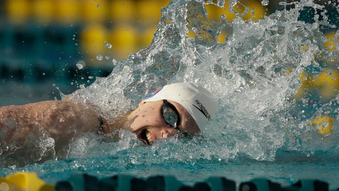 Katie Ledecky wins the women's 200-meter freestyle final at the Arena Pro Swim Series at Skyline Aquatic Center in Mesa on Thursday, April 14, 2016.