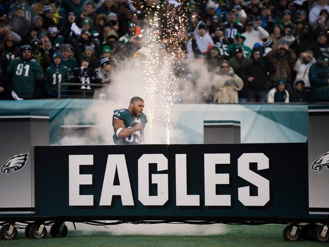 Eagles' Mychal Kendricks (95) takes the field before