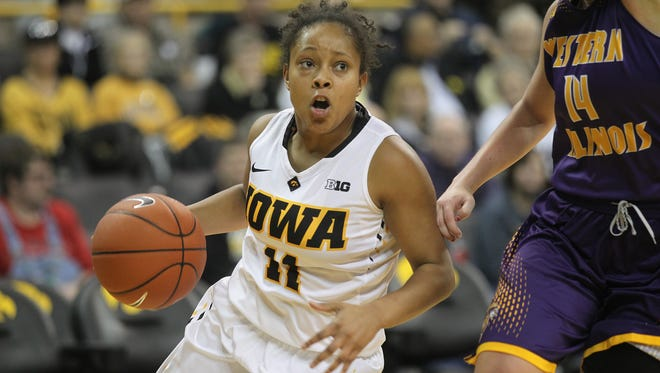 Iowa's Tania Davis drives to the hoop during the Hawkeyes' game against Western Illinois at Carver-Hawkeye Arena on Thursday, Nov. 19, 2015.