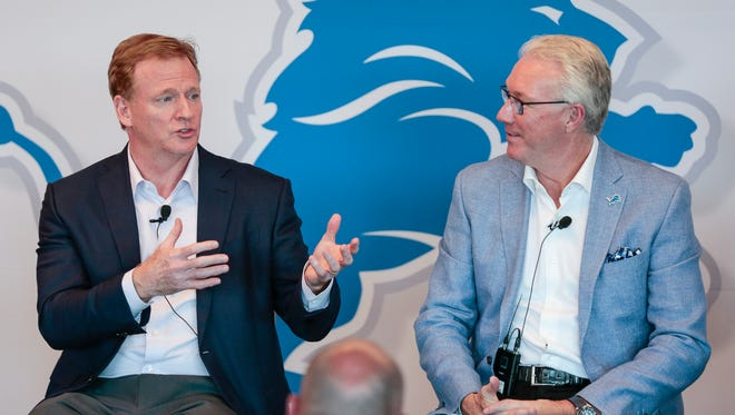 NFL commissioner Roger Goodell, left, answers a question during the Detroit Lions Fan Forum at the Comerica Gridiron Club in the Ford Field in Detroit, Tuesday, August 22, 2017. Next to him is Detroit Lions president Rod Wood.