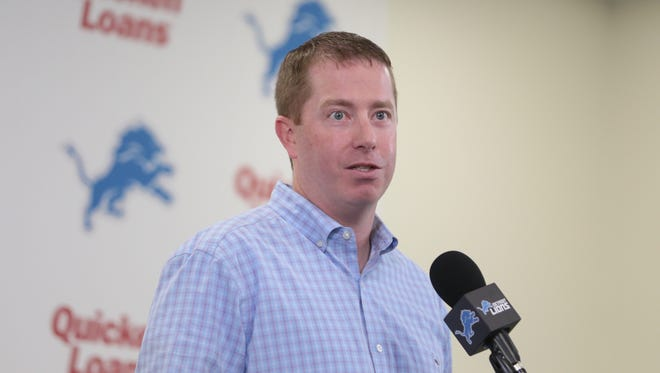Lions executive vice president and general manager Bob Quinn speaks about the $135 million five-year contract extension for quarterback Matthew Stafford in Allen Park on Aug. 29, 2017.