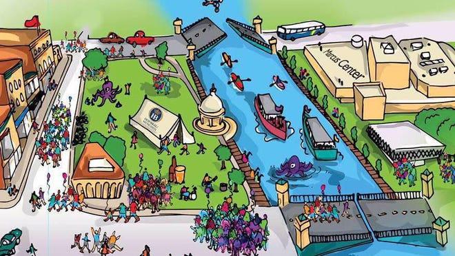 A rendering of the Milwaukee Fringe Festival by head designer Dan Fleming.