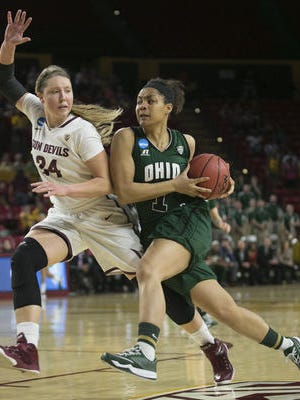 ASU women's basketball is seeking a sixth NCAA Sweet 16 berth. Kelsey Moos (24) is shown against Ohio in the NCAA first round.