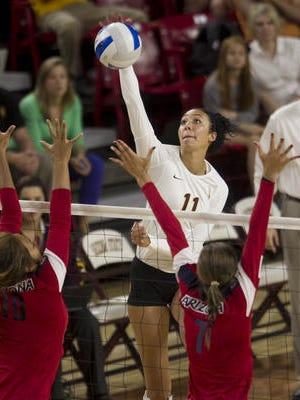Bre Bailey had 13 kills Sunday in No. 10 ASU volleyball's 3-0 loss at No. 12 UCLA.