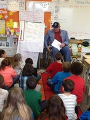 Elmira Rotarian Fred Kelsey visited Diven Elementary School as part of a team effort with students in the school to help stop polio.