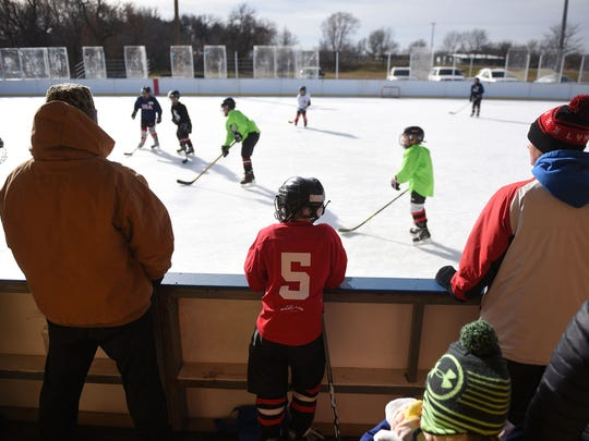 Carson Kludt (5), Mites, waits for practice to end Wednesday, Nov. 21, in Brandon. The Squirts, Pewee, Mini Mites, Mites and JV hockey teams all use the rink for practice.