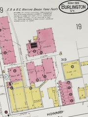 The southeast corner of Pine and Howard streets in Burlington is stacked with buildings associated with the Whiting Brush Fibre Company, as seen in this detail from a 1919 Sanborn Fire Insurance Map. Proposed for redevelopment in 2017 is a duplex (bottom right corner) and the two adjacent storage buildings, in pink and yellow.