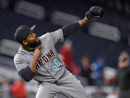 Arizona Diamondbacks relief pitcher Fernando Rodney gestures at the end of the team's baseball game against the Washington Nationals, Tuesday, May 2, 2017, in Washington. The Diamondbacks won 6-3. (AP Photo/Nick Wass)