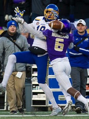 South Dakota State wide receiver Jake Wieneke (19) misses a pass as James Madison cornerback Jimmy Moreland (6) defends during the first half of a FCS semifinal football game, Saturday, Dec. 16, 2017 in Harrisonburg.