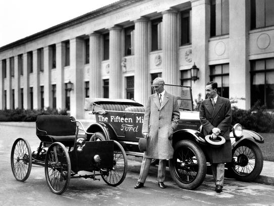 1927--Henry and Edsel Ford with Quadricycle and the