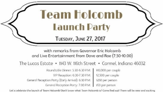 Invitation to Gov. Eric Holcomb's fundraiser.