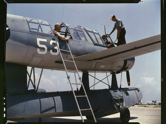 Aviation cadets in training at the Naval Air Base, Corpus Christi, Texas. Image was taken in August 1942 by the Office of War Information and resides in the Library of Congress.