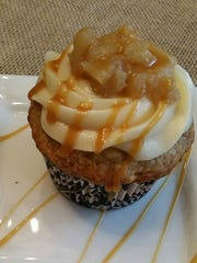 A caramel apple cupcake from Sweet Encounter Bakery and Cafe, a gluten free bakery.