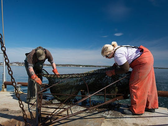 Two crabbers survey their catch.