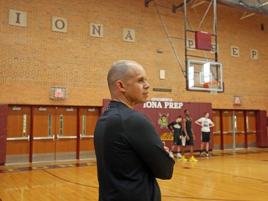 New Iona Prep basketball coach Steve Alvarado during